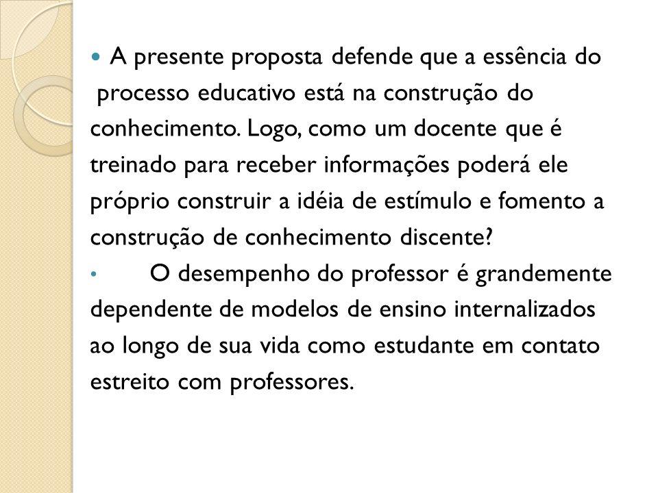 A presente proposta defende que a essência do processo educativo está na construção do conhecimento.