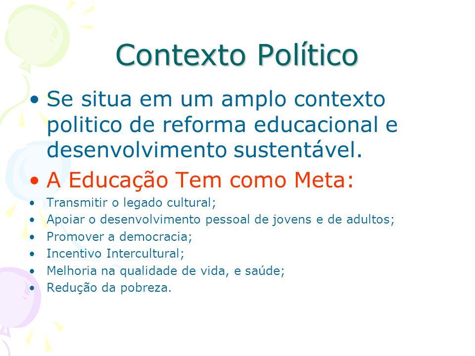Contexto Político Se situa em um amplo contexto politico de reforma educacional e desenvolvimento sustentável. A Educação Tem como Meta: Transmitir o