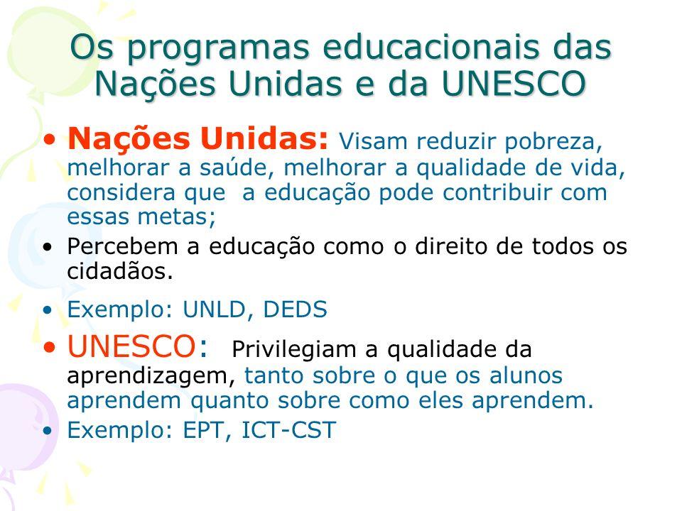 Os programas educacionais das Nações Unidas e da UNESCO Nações Unidas: Visam reduzir pobreza, melhorar a saúde, melhorar a qualidade de vida, consider