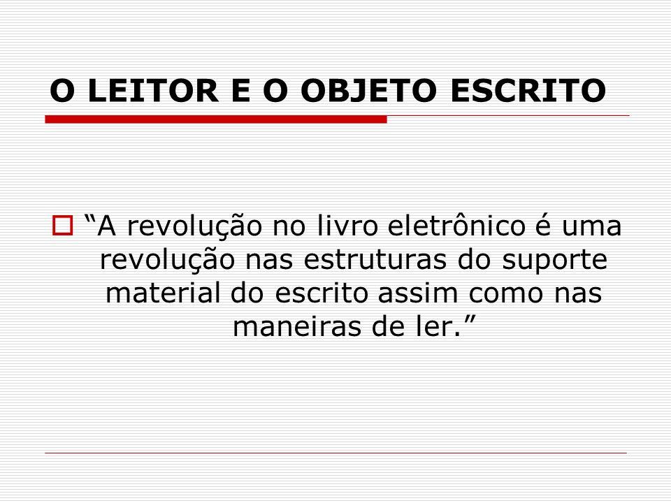 O LEITOR E O OBJETO ESCRITO A revolução no livro eletrônico é uma revolução nas estruturas do suporte material do escrito assim como nas maneiras de l