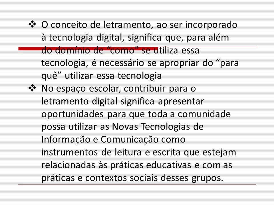O conceito de letramento, ao ser incorporado à tecnologia digital, significa que, para além do domínio de como se utiliza essa tecnologia, é necessári