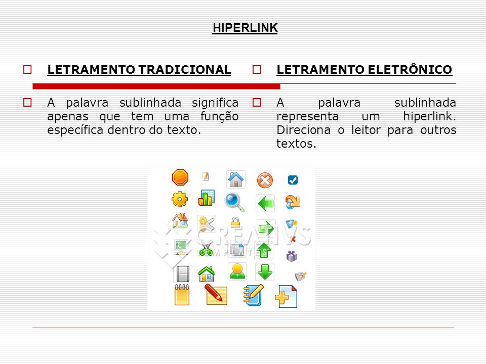 LETRAMENTO TRADICIONAL A palavra sublinhada significa apenas que tem uma função específica dentro do texto. LETRAMENTO ELETRÔNICO A palavra sublinhada