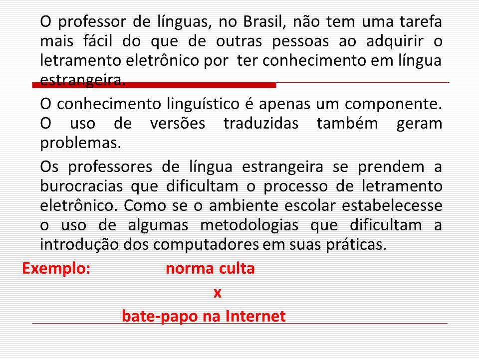 O professor de línguas, no Brasil, não tem uma tarefa mais fácil do que de outras pessoas ao adquirir o letramento eletrônico por ter conhecimento em