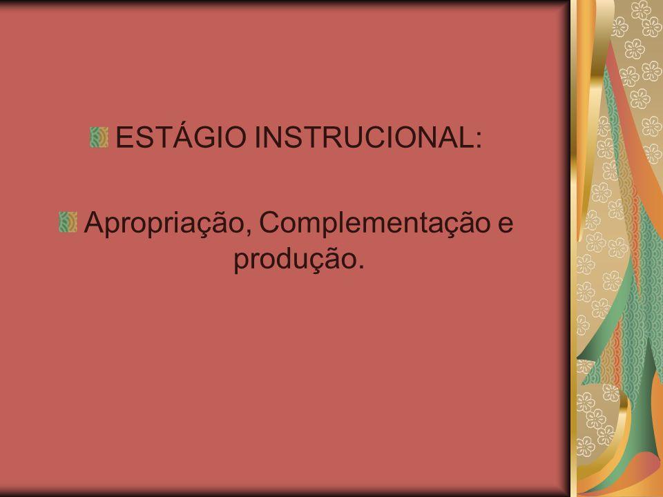 ESTÁGIO INSTRUCIONAL: Apropriação, Complementação e produção.
