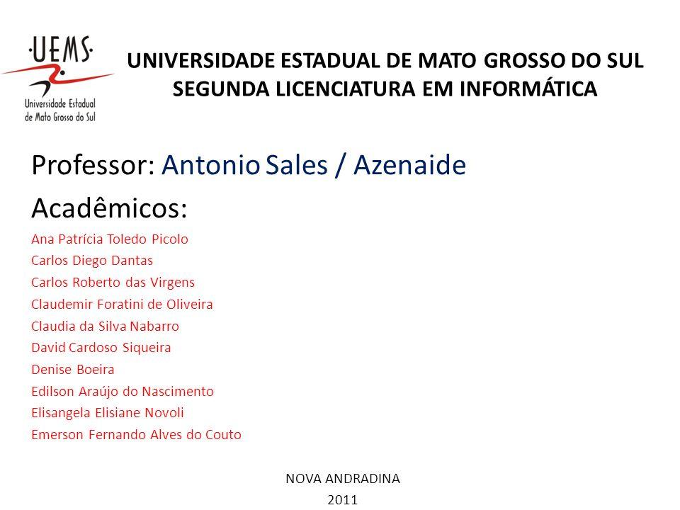 UNIVERSIDADE ESTADUAL DE MATO GROSSO DO SUL SEGUNDA LICENCIATURA EM INFORMÁTICA Professor: Antonio Sales / Azenaide Acadêmicos: Ana Patrícia Toledo Pi