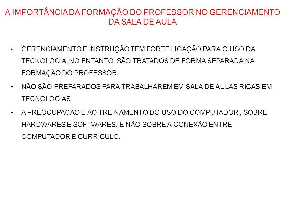 A IMPORTÂNCIA DA FORMAÇÃO DO PROFESSOR NO GERENCIAMENTO DA SALA DE AULA GERENCIAMENTO E INSTRUÇÃO TEM FORTE LIGAÇÃO PARA O USO DA TECNOLOGIA, NO ENTAN