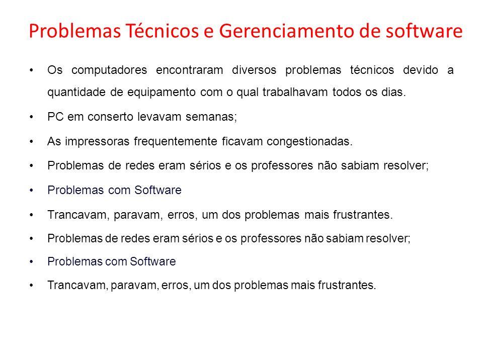 Problemas Técnicos e Gerenciamento de software Os computadores encontraram diversos problemas técnicos devido a quantidade de equipamento com o qual t