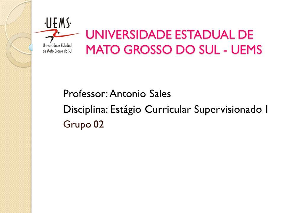 UNIVERSIDADE ESTADUAL DE MATO GROSSO DO SUL - UEMS Professor: Antonio Sales Disciplina: Estágio Curricular Supervisionado I Grupo 02