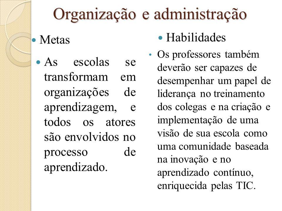Organização e administração Metas As escolas se transformam em organizações de aprendizagem, e todos os atores são envolvidos no processo de aprendiza
