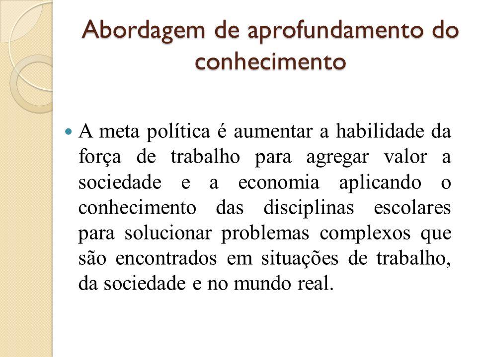 Abordagem de aprofundamento do conhecimento A meta política é aumentar a habilidade da força de trabalho para agregar valor a sociedade e a economia a
