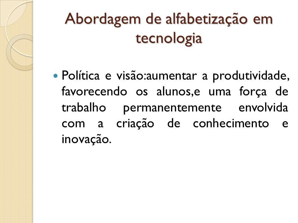 Abordagem de alfabetização em tecnologia Política e visão:aumentar a produtividade, favorecendo os alunos,e uma força de trabalho permanentemente envo