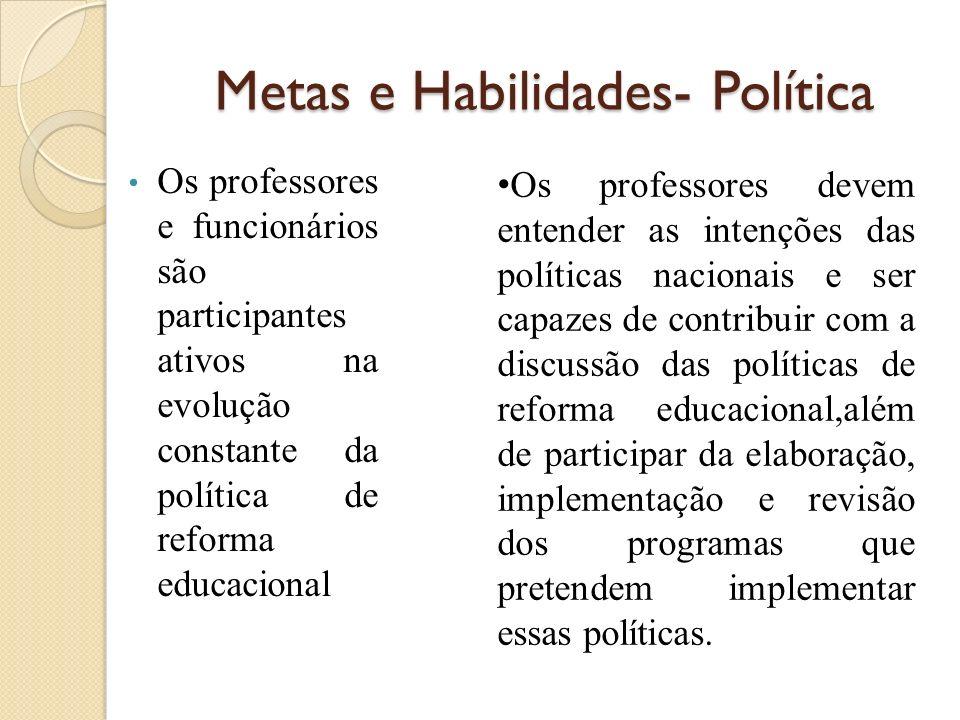 Metas e Habilidades- Política Os professores e funcionários são participantes ativos na evolução constante da política de reforma educacional Os profe