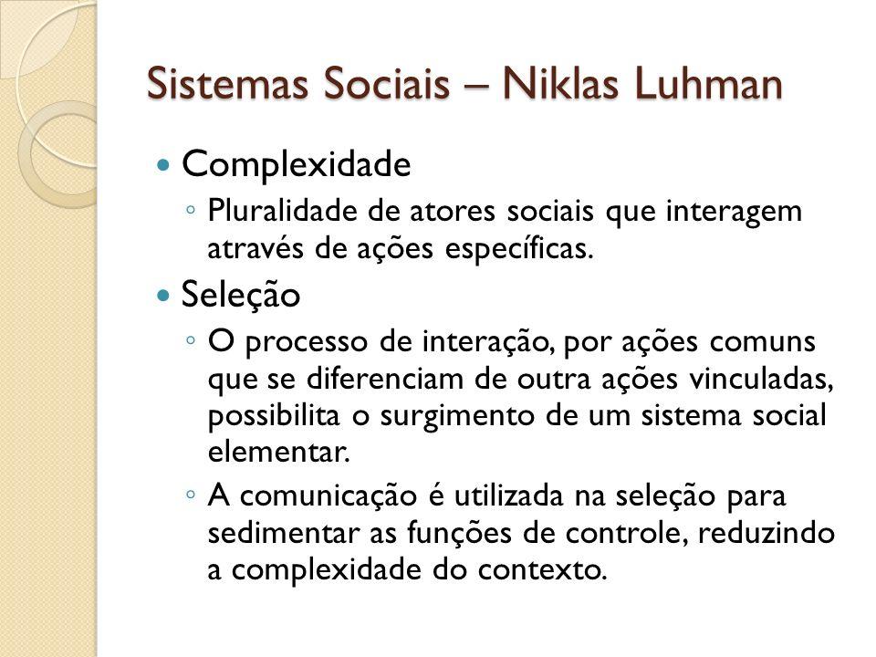Sistemas Sociais – Niklas Luhman Complexidade Pluralidade de atores sociais que interagem através de ações específicas. Seleção O processo de interaçã