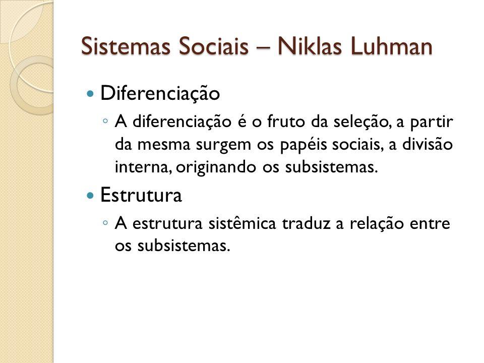 Sistemas Sociais – Niklas Luhman Diferenciação A diferenciação é o fruto da seleção, a partir da mesma surgem os papéis sociais, a divisão interna, or