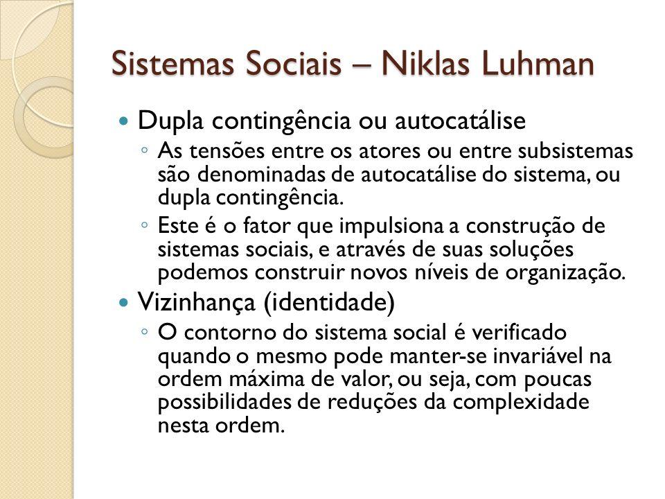 Sistemas Sociais – Niklas Luhman Dupla contingência ou autocatálise As tensões entre os atores ou entre subsistemas são denominadas de autocatálise do