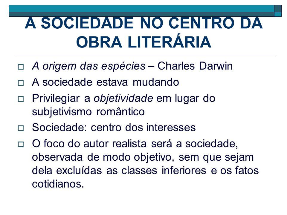 A SOCIEDADE NO CENTRO DA OBRA LITERÁRIA A origem das espécies – Charles Darwin A sociedade estava mudando Privilegiar a objetividade em lugar do subje