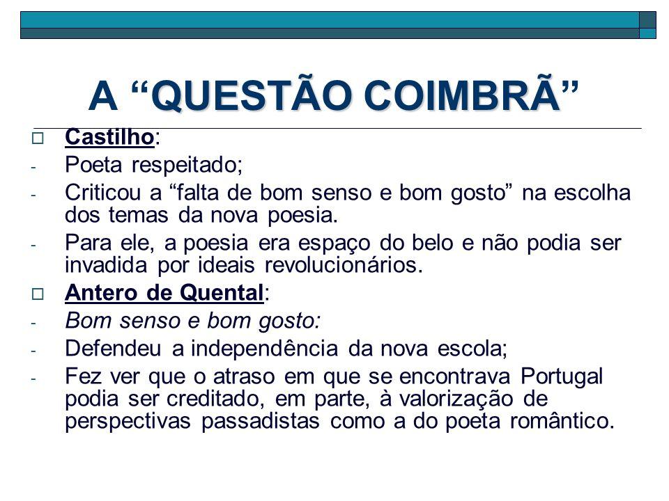 QUESTÃO COIMBRÃ A QUESTÃO COIMBRÃ Castilho: - Poeta respeitado; - Criticou a falta de bom senso e bom gosto na escolha dos temas da nova poesia. - Par