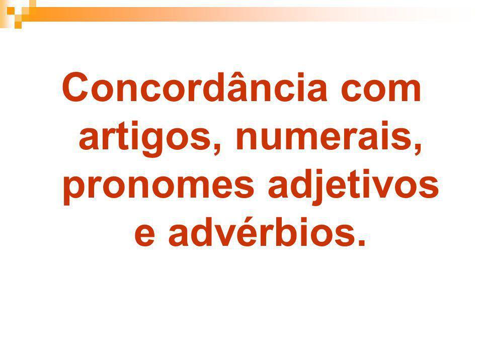 Concordância com artigos, numerais, pronomes adjetivos e advérbios.