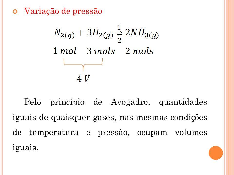 Variação de pressão Pelo princípio de Avogadro, quantidades iguais de quaisquer gases, nas mesmas condições de temperatura e pressão, ocupam volumes i