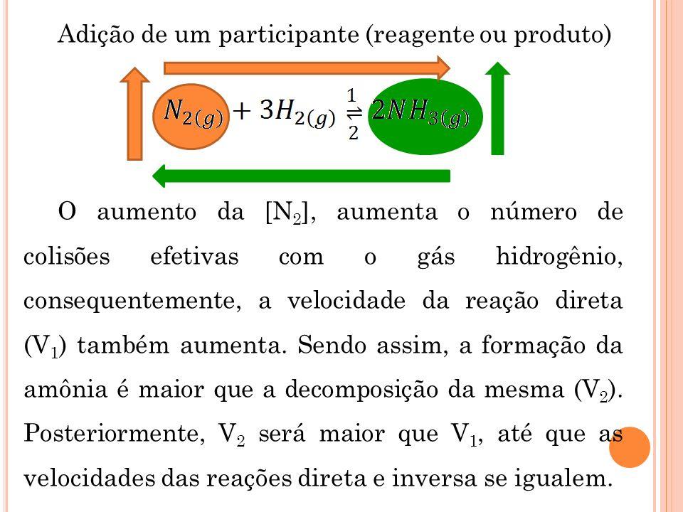 Adição de um participante (reagente ou produto) O aumento da [N 2 ], aumenta o número de colisões efetivas com o gás hidrogênio, consequentemente, a v