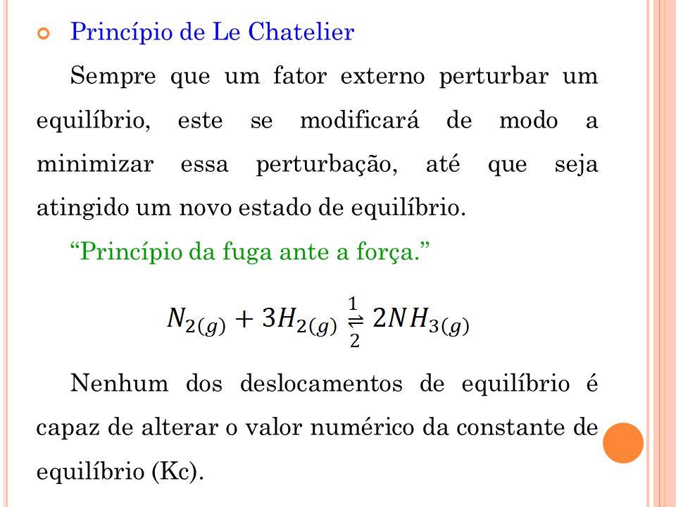 Princípio de Le Chatelier Sempre que um fator externo perturbar um equilíbrio, este se modificará de modo a minimizar essa perturbação, até que seja a