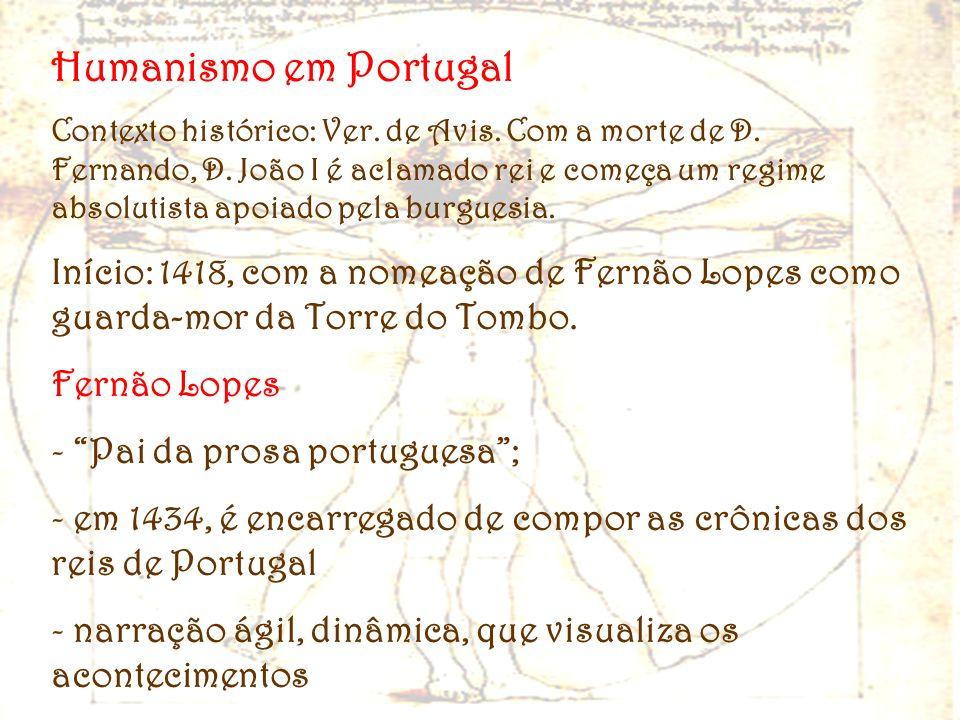 Humanismo em Portugal Contexto histórico: Ver. de Avis. Com a morte de D. Fernando, D. João I é aclamado rei e começa um regime absolutista apoiado pe