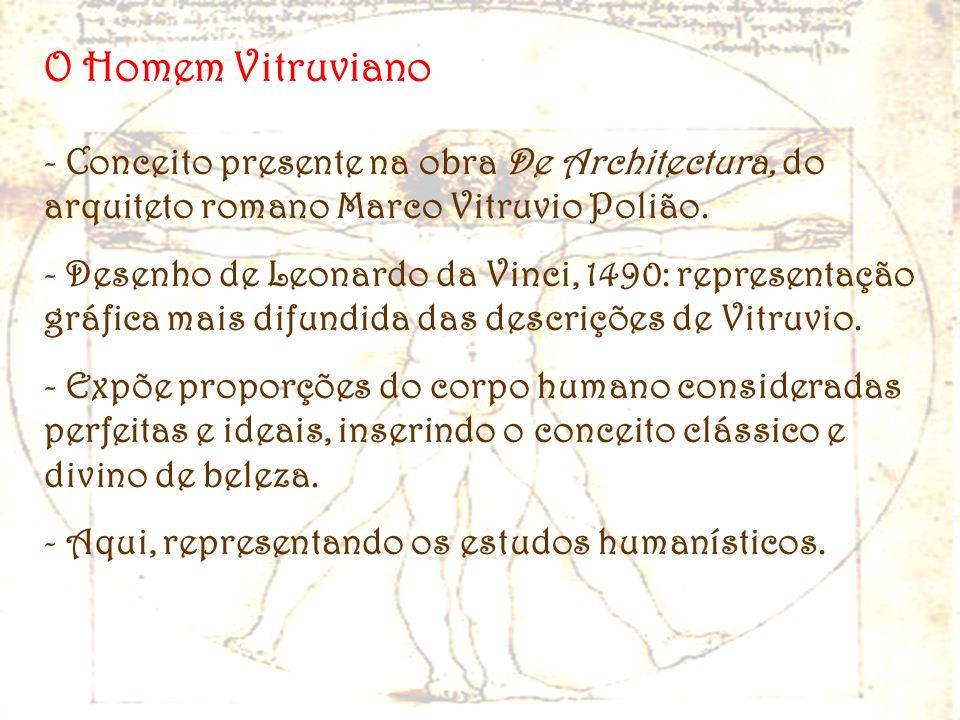 O Homem Vitruviano - Conceito presente na obra De Architectura, do arquiteto romano Marco Vitruvio Polião. - Desenho de Leonardo da Vinci, 1490: repre