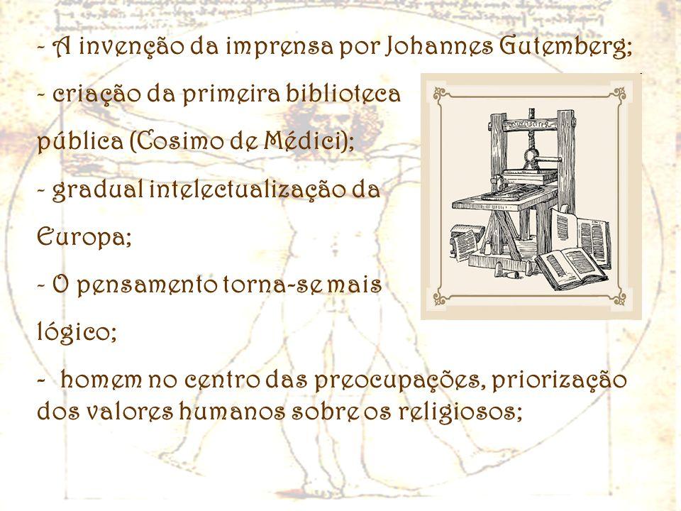 - A invenção da imprensa por Johannes Gutemberg; - criação da primeira biblioteca pública (Cosimo de Médici); - gradual intelectualização da Europa; -
