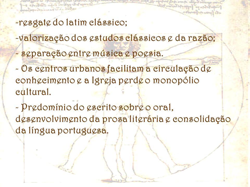 -resgate do latim clássico; -valorização dos estudos clássicos e da razão; - separação entre música e poesia. - Os centros urbanos facilitam a circula