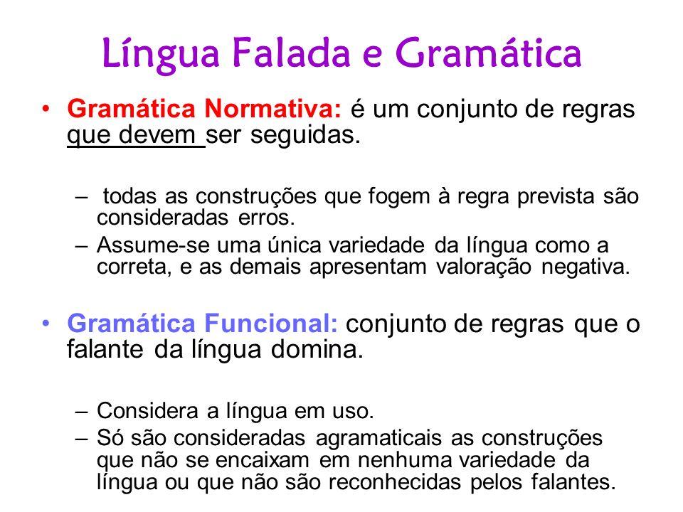 Língua Falada e Gramática Gramática Normativa: é um conjunto de regras que devem ser seguidas. – todas as construções que fogem à regra prevista são c