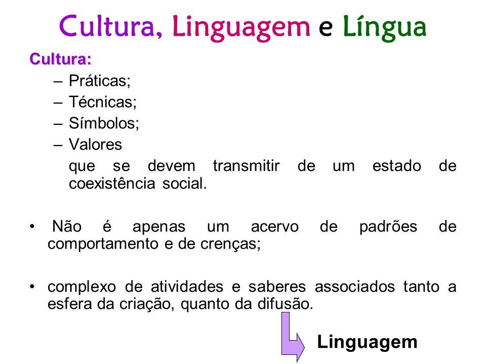 Cultura, Linguagem e Língua Cultura: –Práticas; –Técnicas; –Símbolos; –Valores que se devem transmitir de um estado de coexistência social. Não é apen