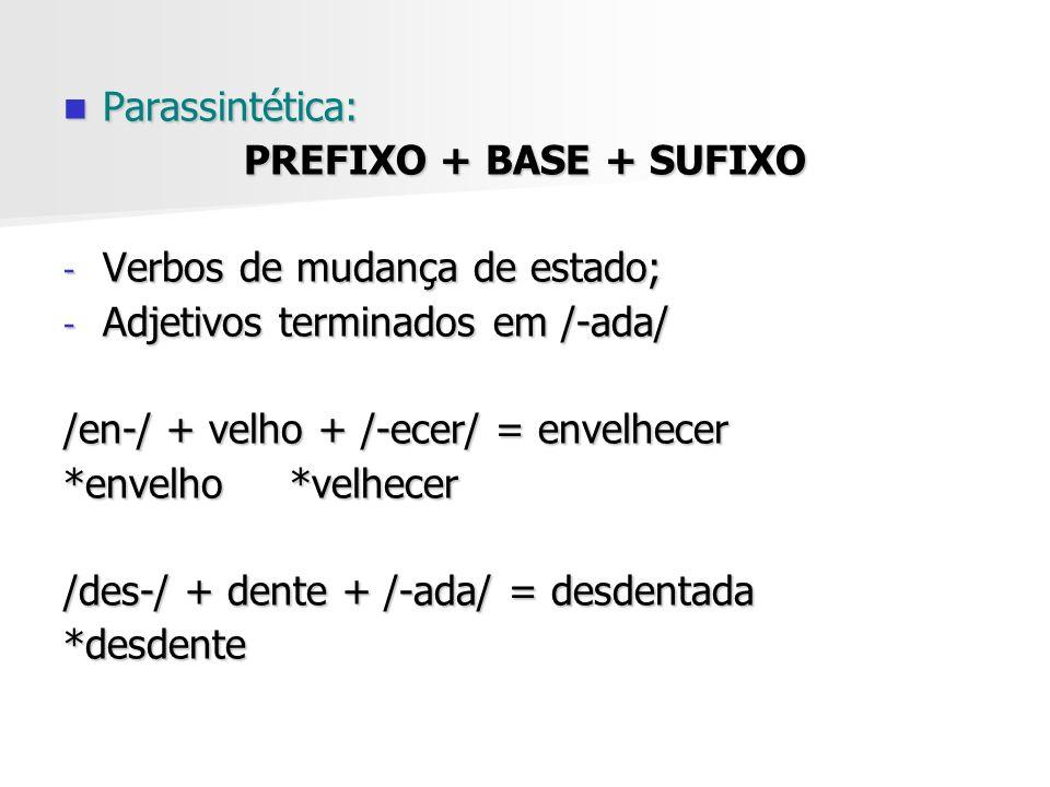 Parassintética: Parassintética: PREFIXO + BASE + SUFIXO - Verbos de mudança de estado; - Adjetivos terminados em /-ada/ /en-/ + velho + /-ecer/ = enve