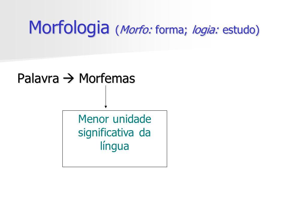 Morfologia (Morfo: forma; logia: estudo) Palavra Morfemas Menor unidade significativa da língua