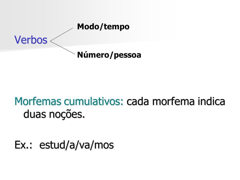 Verbos Morfemas cumulativos: cada morfema indica duas noções. Ex.: estud/a/va/mos Modo/tempo Número/pessoa