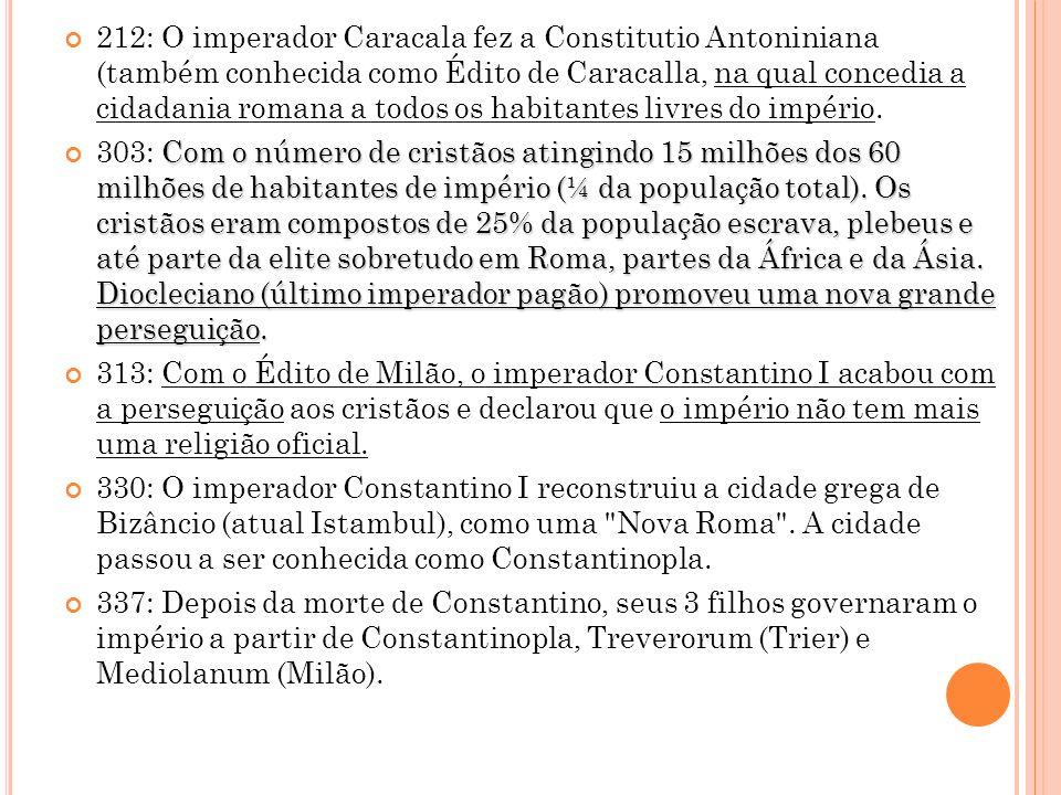 212: O imperador Caracala fez a Constitutio Antoniniana (também conhecida como Édito de Caracalla, na qual concedia a cidadania romana a todos os habi