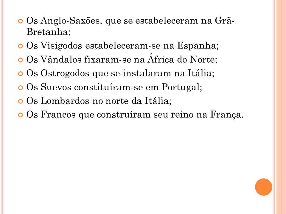 Os Anglo-Saxões, que se estabeleceram na Grã- Bretanha; Os Visigodos estabeleceram-se na Espanha; Os Vândalos fixaram-se na África do Norte; Os Ostrog