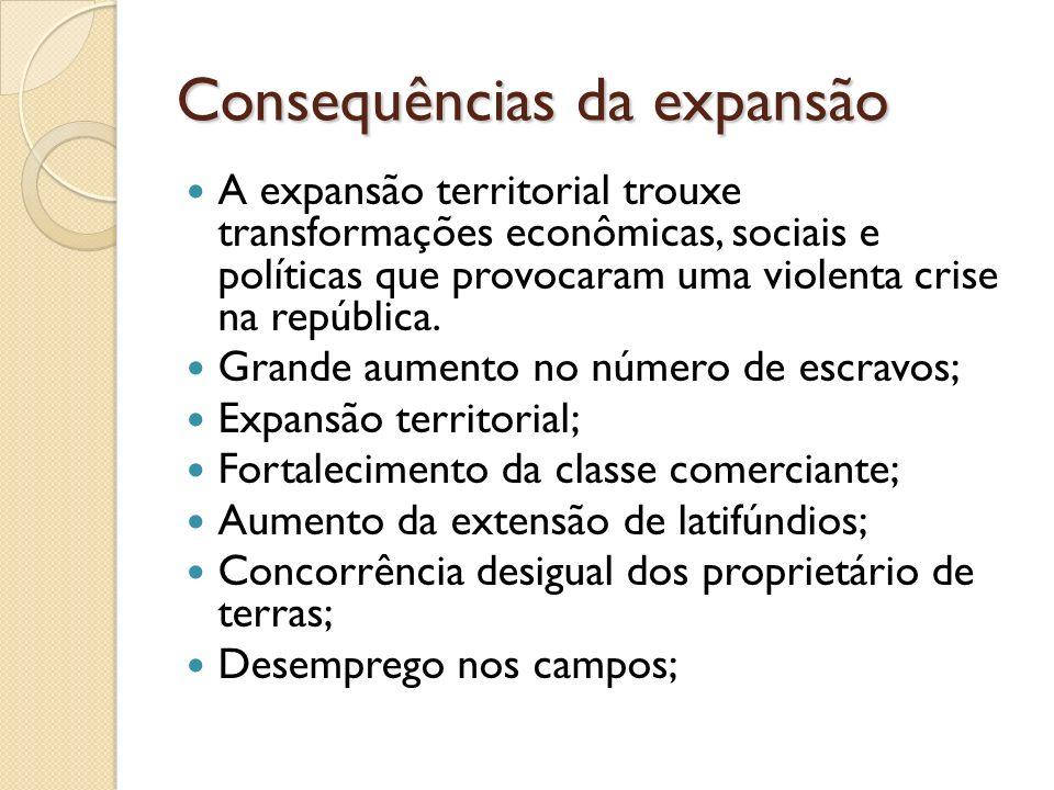 Consequências da expansão A expansão territorial trouxe transformações econômicas, sociais e políticas que provocaram uma violenta crise na república.