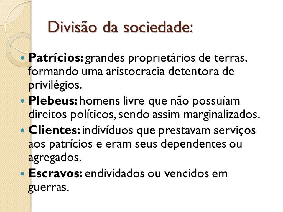 Divisão da sociedade: Patrícios: grandes proprietários de terras, formando uma aristocracia detentora de privilégios. Plebeus: homens livre que não po