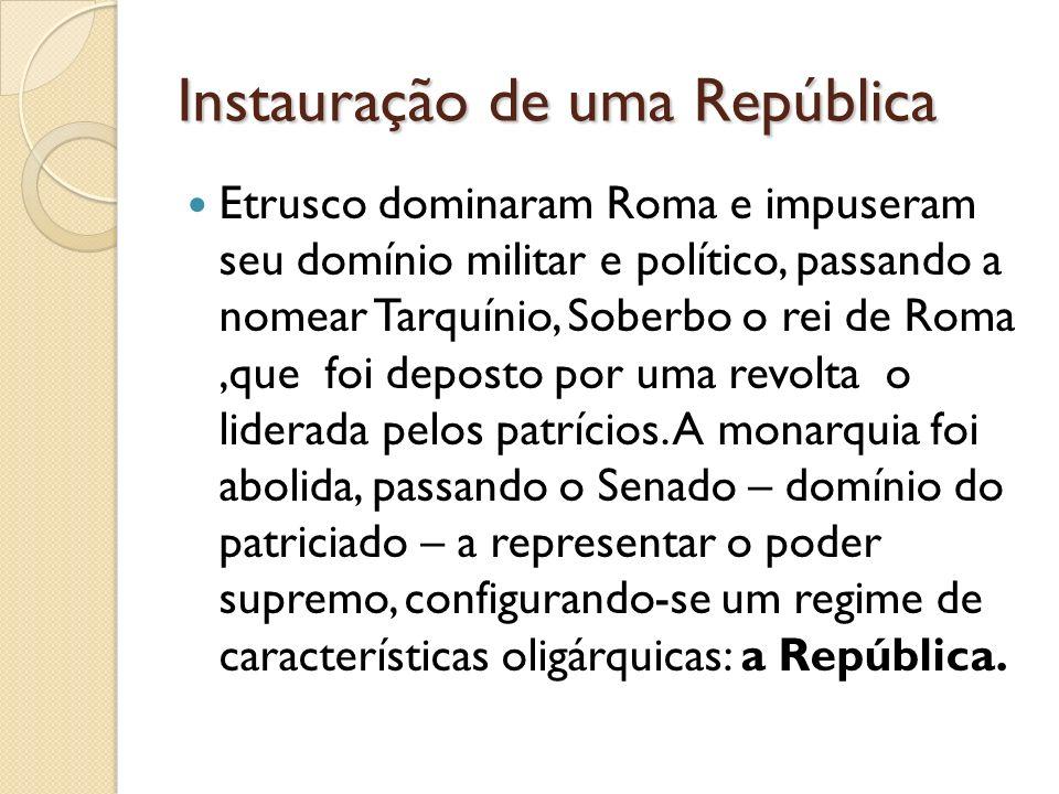 Instauração de uma República Etrusco dominaram Roma e impuseram seu domínio militar e político, passando a nomear Tarquínio, Soberbo o rei de Roma,que