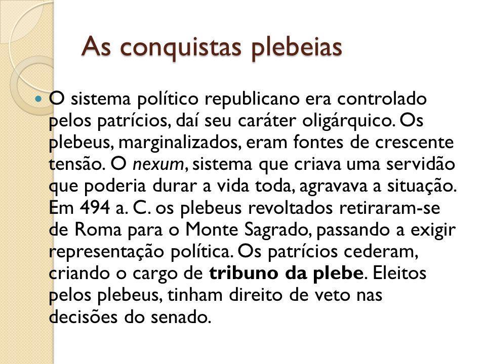 As conquistas plebeias O sistema político republicano era controlado pelos patrícios, daí seu caráter oligárquico. Os plebeus, marginalizados, eram fo