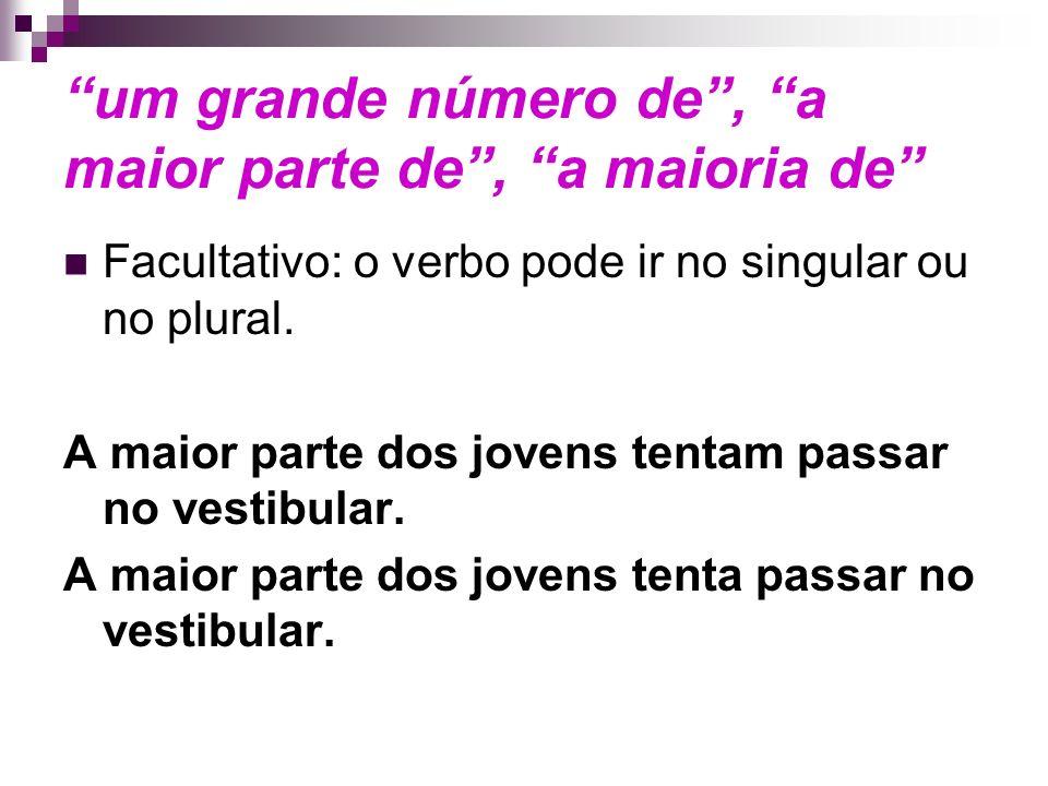 um grande número de, a maior parte de, a maioria de Facultativo: o verbo pode ir no singular ou no plural.
