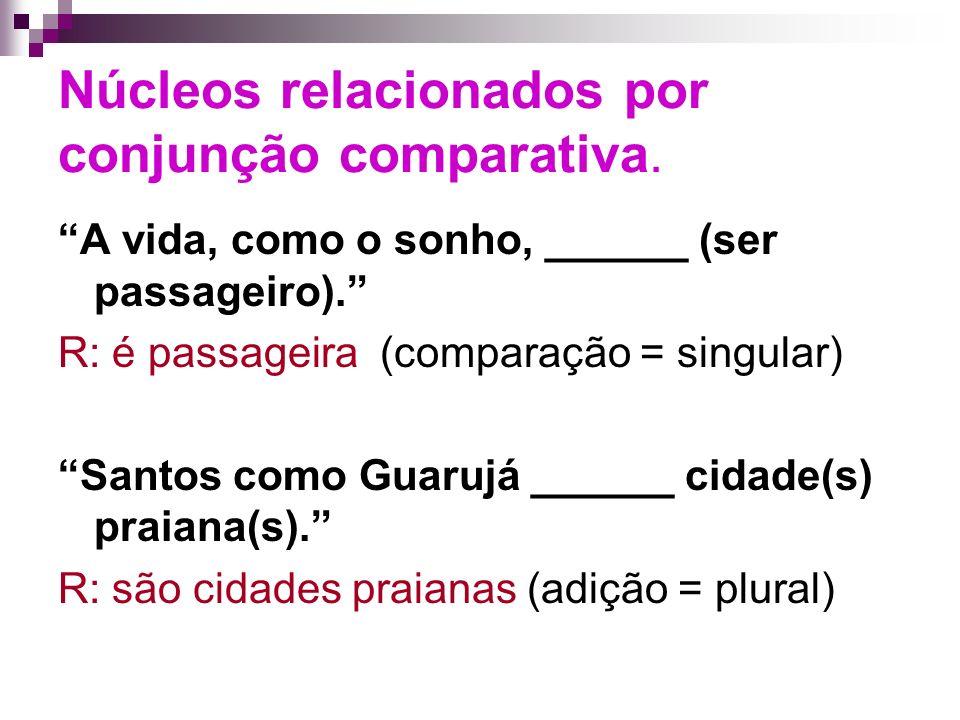 Núcleos relacionados por conjunção comparativa.A vida, como o sonho, ______ (ser passageiro).