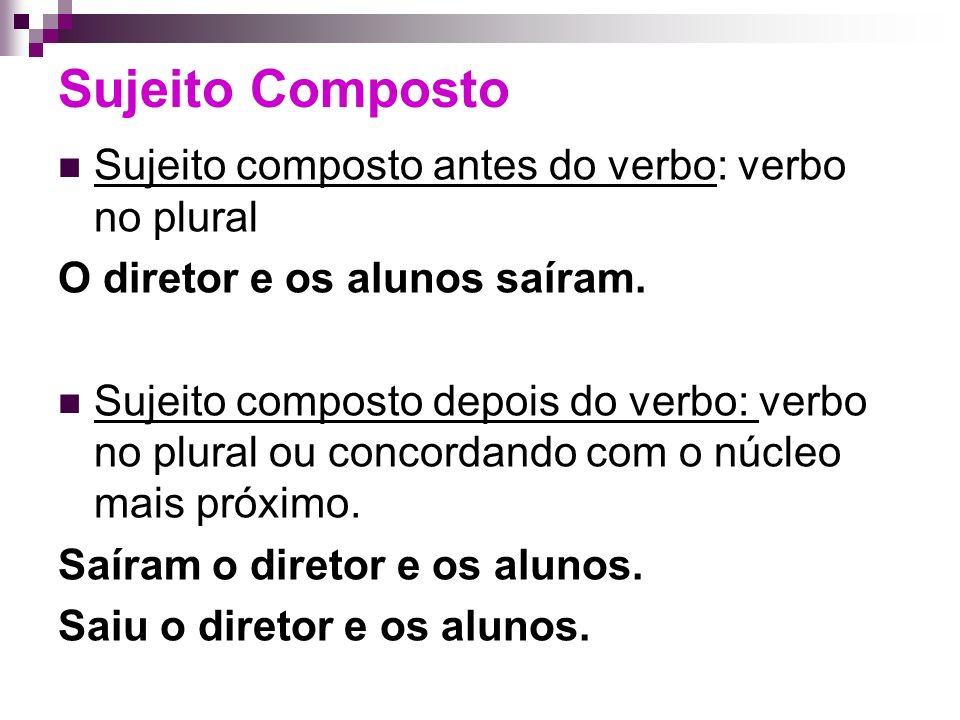 Sujeito Composto Sujeito composto antes do verbo: verbo no plural O diretor e os alunos saíram.