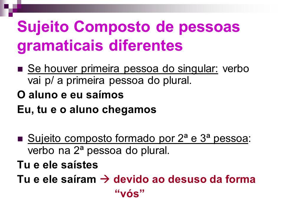 Sujeito Composto de pessoas gramaticais diferentes Se houver primeira pessoa do singular: verbo vai p/ a primeira pessoa do plural.