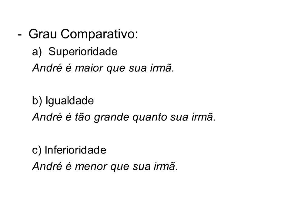 -Grau Comparativo: a)Superioridade André é maior que sua irmã. b) Igualdade André é tão grande quanto sua irmã. c) Inferioridade André é menor que sua