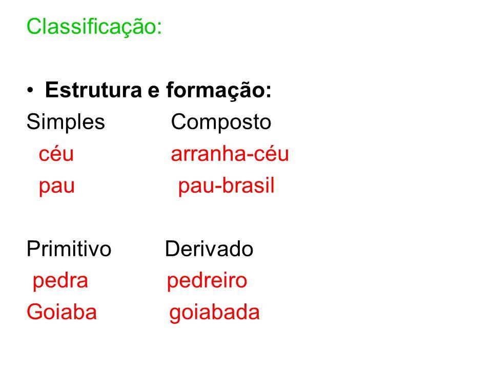 Classificação: Estrutura e formação: Simples Composto céu arranha-céu pau pau-brasil Primitivo Derivado pedra pedreiro Goiaba goiabada