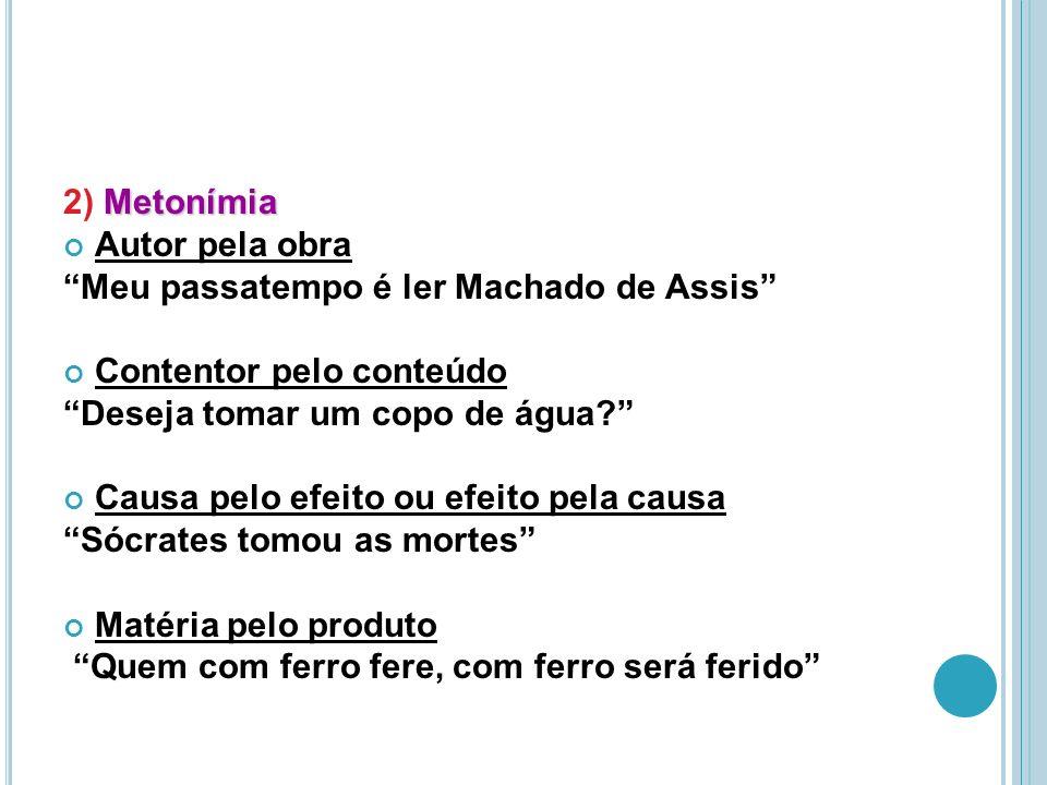 Metonímia 2) Metonímia Autor pela obra Meu passatempo é ler Machado de Assis Contentor pelo conteúdo Deseja tomar um copo de água.