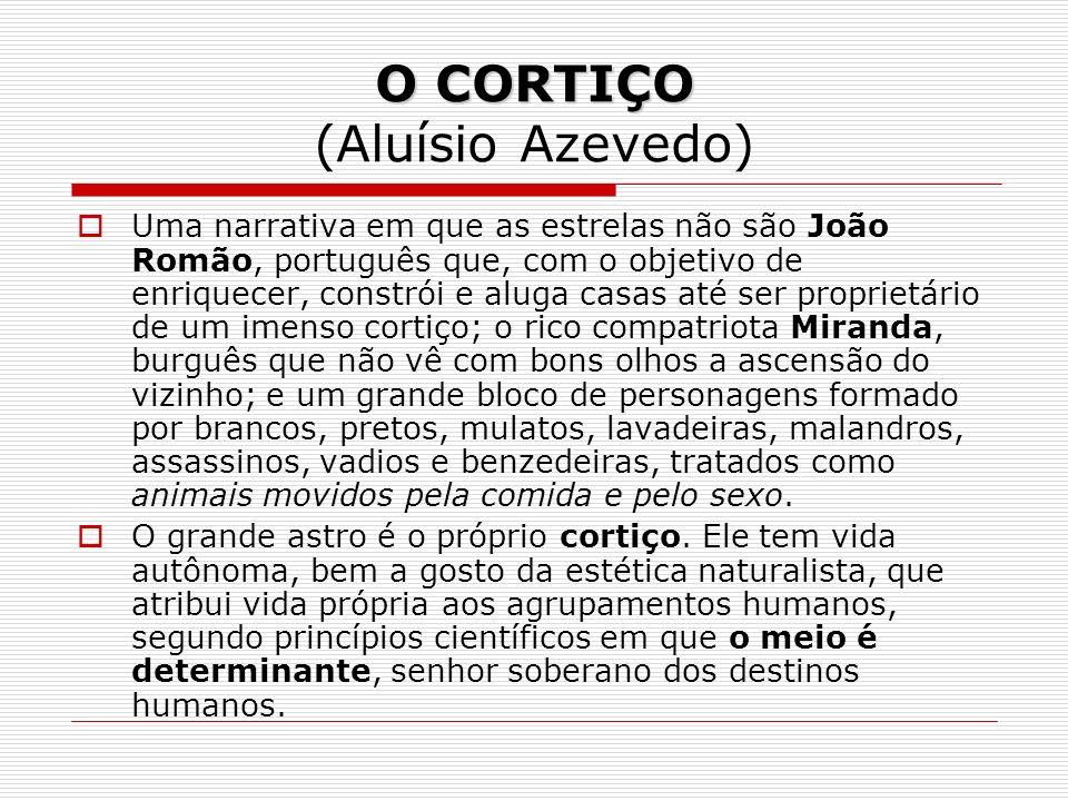 O CORTIÇO O CORTIÇO (Aluísio Azevedo) Uma narrativa em que as estrelas não são João Romão, português que, com o objetivo de enriquecer, constrói e alu