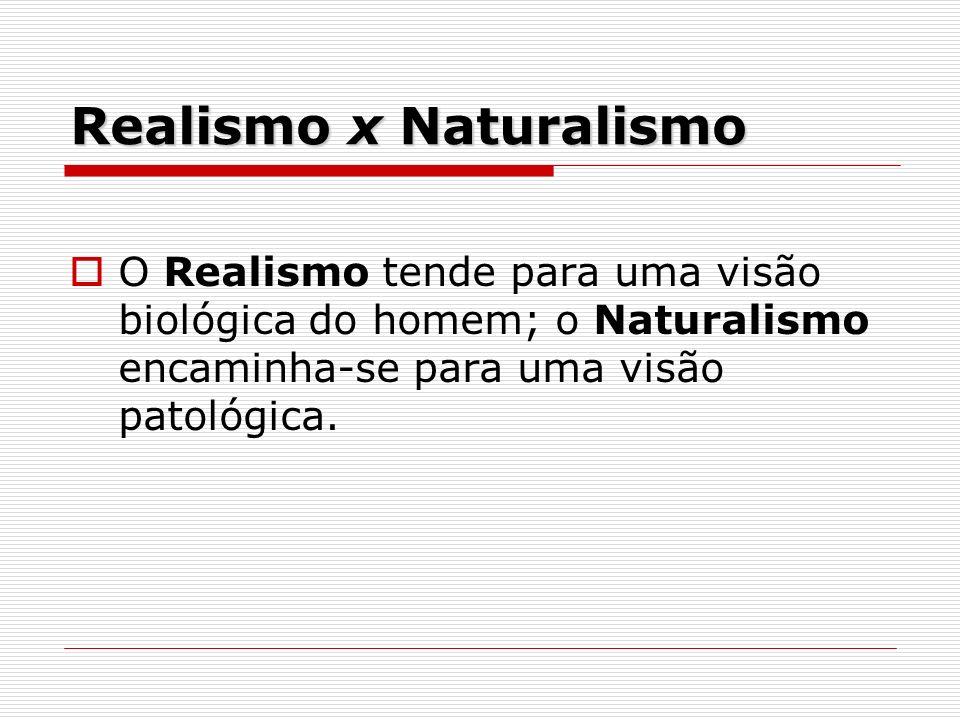 Realismo x Naturalismo O Realismo tende para uma visão biológica do homem; o Naturalismo encaminha-se para uma visão patológica.