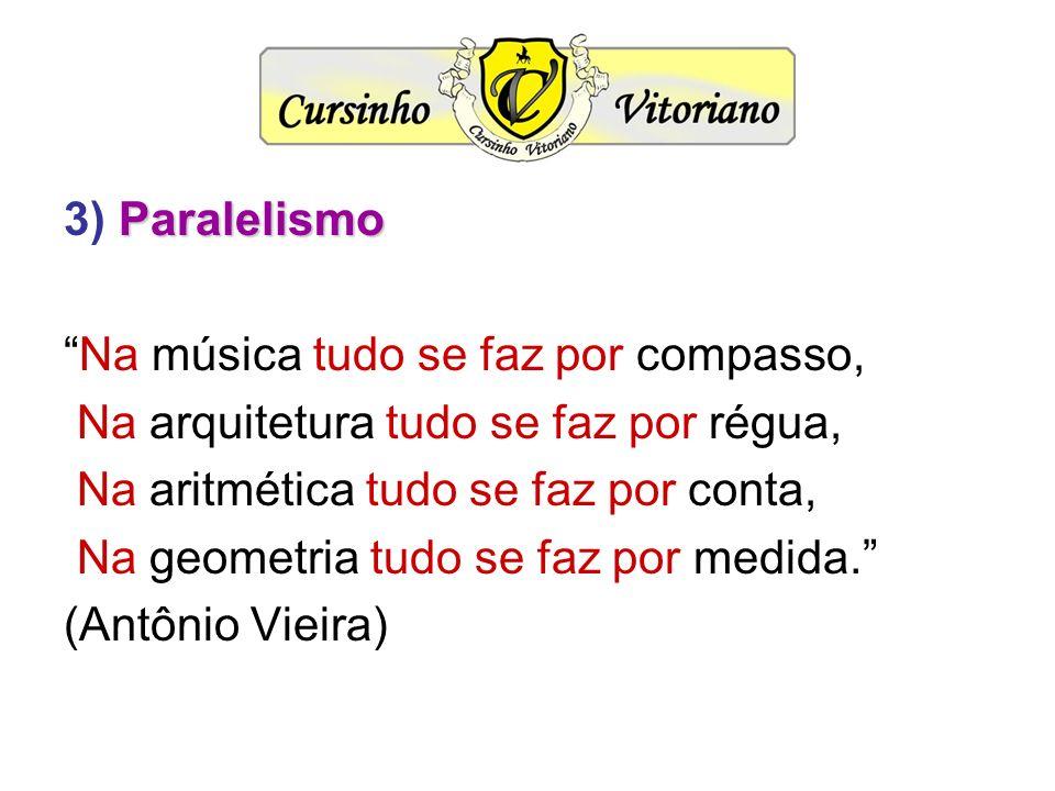 Paralelismo 3) Paralelismo Na música tudo se faz por compasso, Na arquitetura tudo se faz por régua, Na aritmética tudo se faz por conta, Na geometria